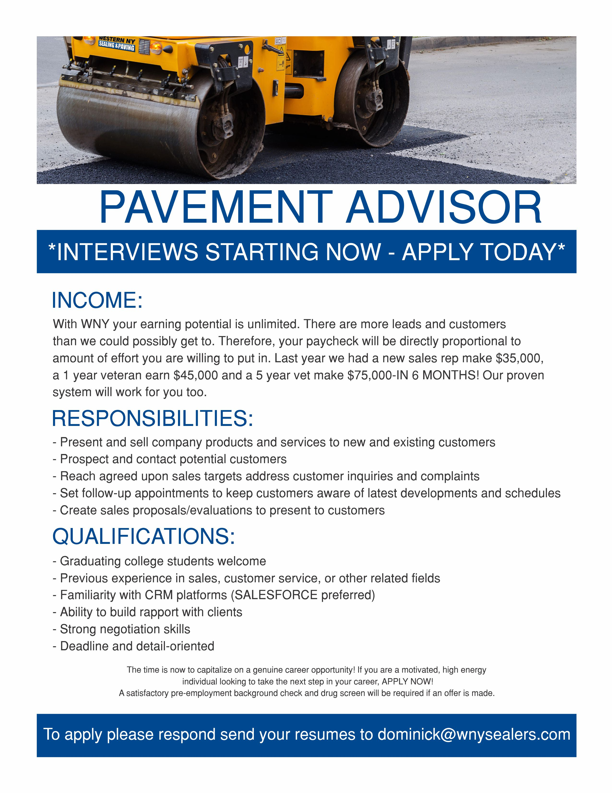 Careers | Job Opportunity | Western NY Sealing & Paving